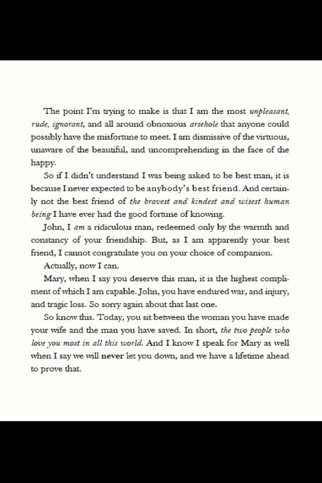 Sherlock's Best man Speech :')   (Also a must-have for the Best Man who just so happens to be attending a Sherlockian's wedding.)