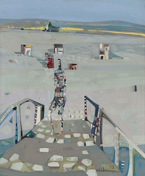 Jakob Weidemann (Norwegian, 1923-2001), The bridge with the white stones, 1953. Oil on board, 46 x 38 cm.