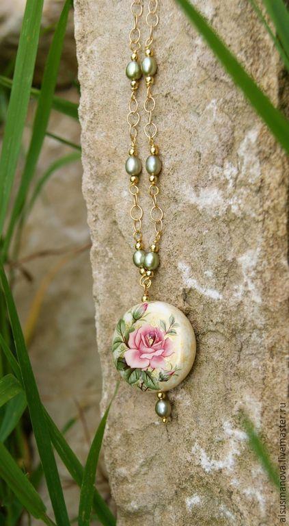 Купить кулон с цепочкой ...Свежесть розы... - бусина Тенша, японская бусина, роза, розовая роза
