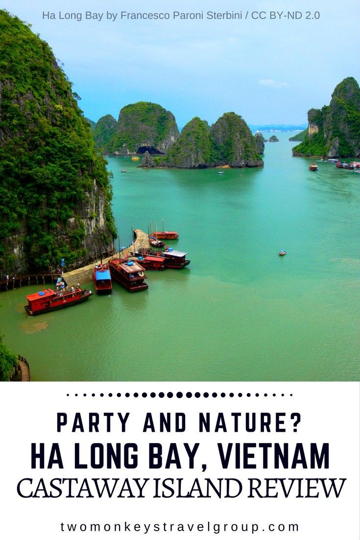 "Party and Nature? Ha Long Bay, Vietnam – Castaway Island Review Ha long bay or the ""descending dragon bay"" is one of the must see when you visit Vietnam. A paradise of tall limestone pillars that comes into different sizes and shapes draws a lot of attention from the tourists from every corner of the world. Ha long bay is also recognized as one of the UNESCO World Heritage Site."