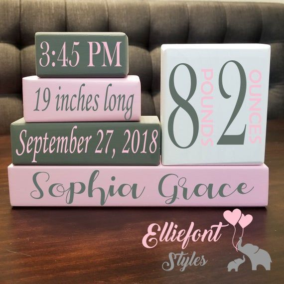 Baby Birth Stats Wooden Block Set | Solid Wood | Personalized Baby Gift | Newborn Gift | Date Time Length Weight Location