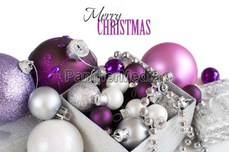 Silver and purple Christmas ornaments border -  Royalty Free Stock Photo - 18968157
