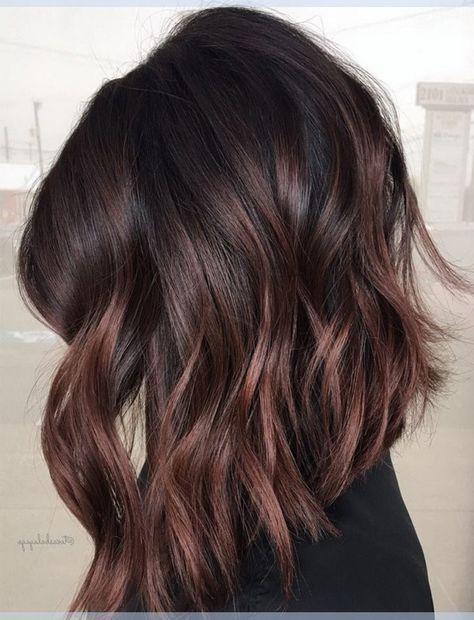 Cherry Chocolate Brunette Balayage Haarfarbe Ideen für Black Lob Frisuren