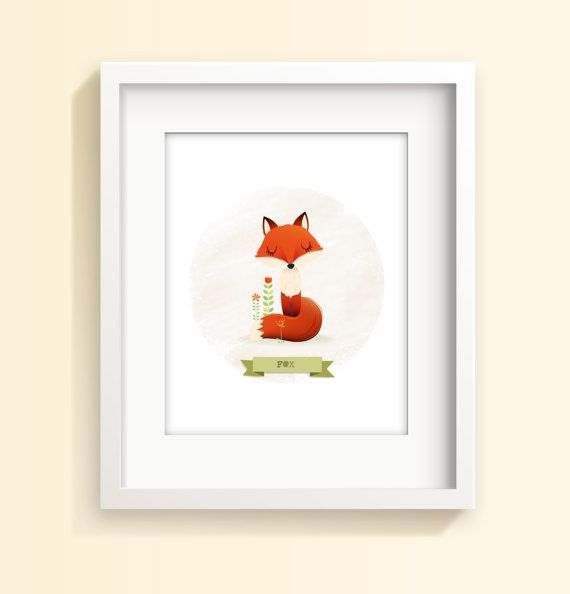 Nursery print Fox print kids illustration kids by IreneGoughPrints