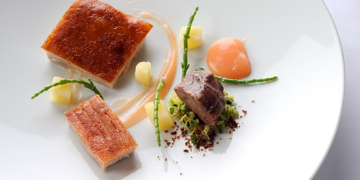 Pork fillet and pork belly are served up two ways in this recipe. Quince provides lovely flavour in this magnificent pork recipe from Agnar Sverrisson.