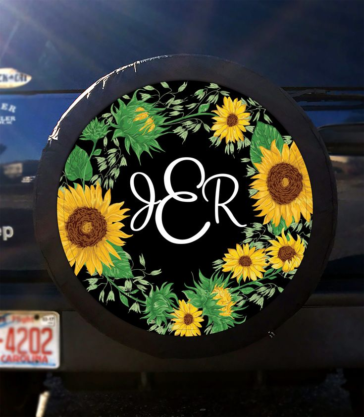 Sunflower Tire Cover Classy Black Floral Spare Tire Cover Custom Tire Cover Monogrammed Tire Cover Jeep Wrangler Accessories Jeep Tire Cover by ChicMonogram on Etsy