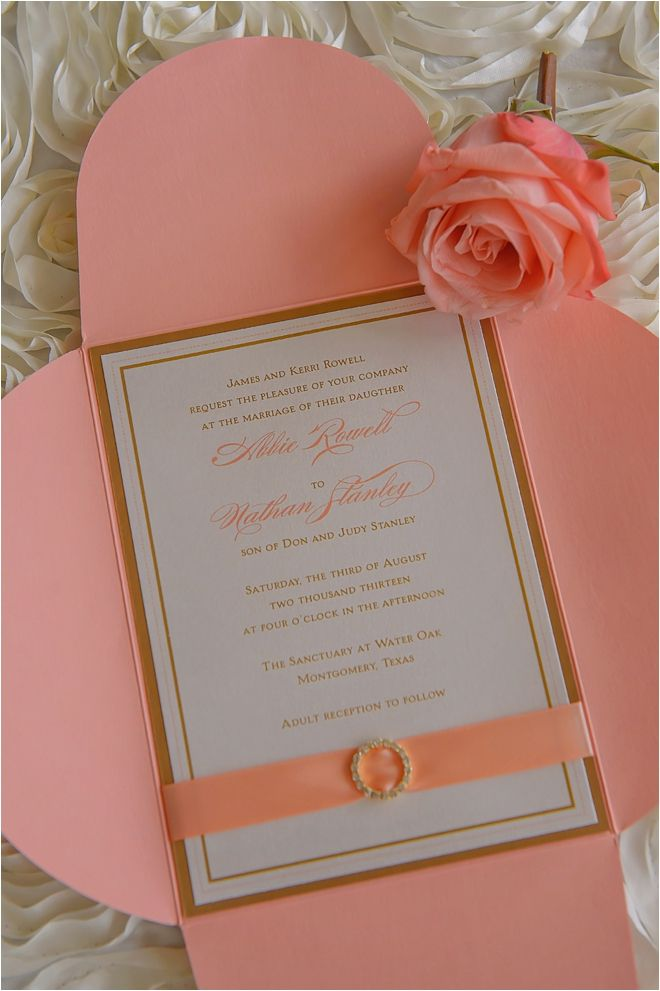 Coral, white, and gold wedding invitation ~ Photo: Jenna Christine Photography