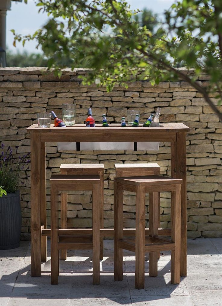 The perfect outdoor bar table with built in drinks cooler/planter.