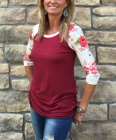 Look at this #zulilyfind! Burgundy & Ivory Floral Raglan Tee #zulilyfinds