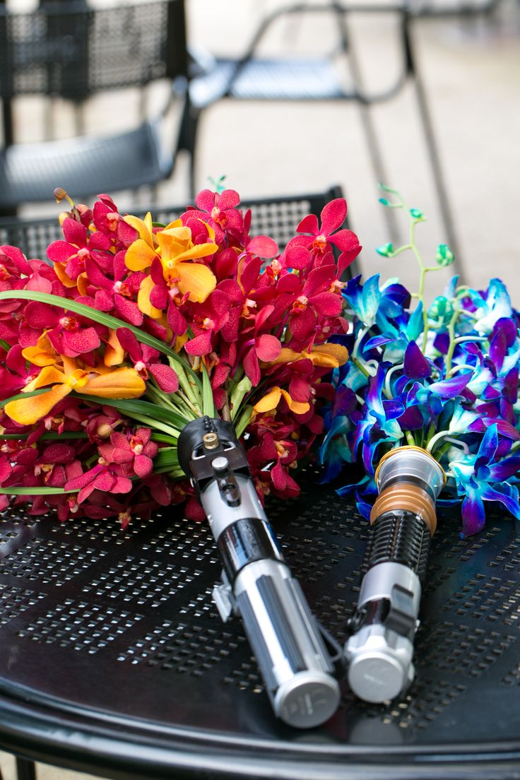 Lightsaber Bouquet #StarWarsWedding #NerdWedding #GeekWedding