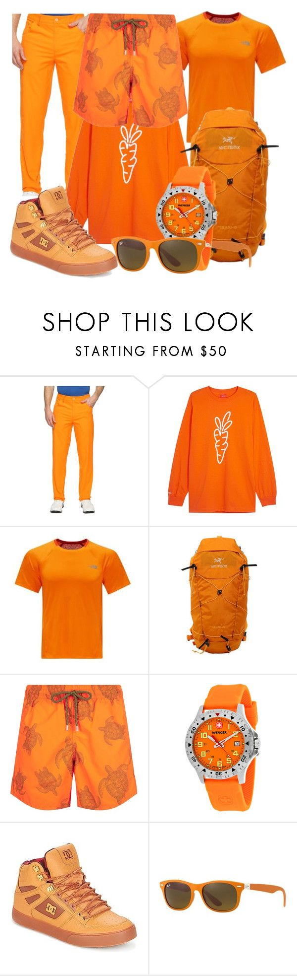"""Color Craze: Orange"" by capricandycorn ❤ liked on Polyvore featuring Puma, Carrots by Anwar Carrots, The North Face, Arc'teryx, Vilebrequin, Wenger, DC Shoes, Ray-Ban, men's fashion and menswear"