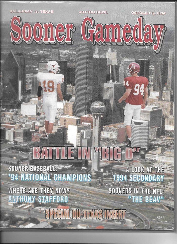 1994 Oklahoma Sooners vs Texas Longhorns game day program ...