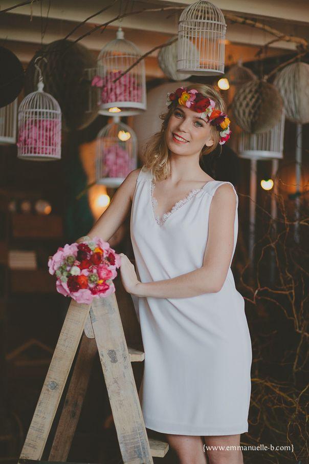 Atelier 2B - Robe de mariée courte Californie. Fleurs Poppy Figue Flower. Photo Emmanuelle B Photographie.