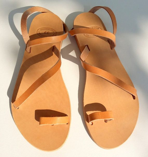 Natural brown leather sandals Women Greek leather by Youniquegr