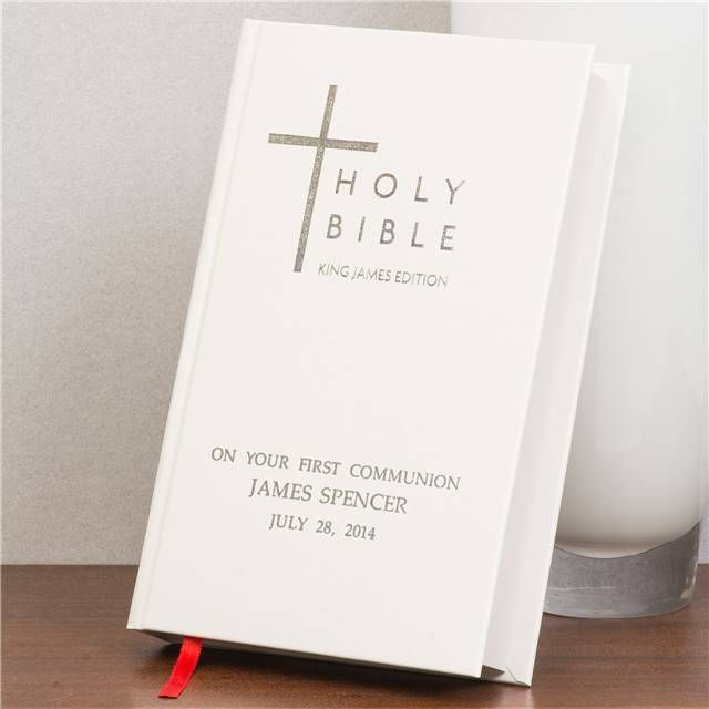 Personalised First Holy Communion King James Bible - Best Selling First Communion Gifts and Presents for Boy or Girl Son Daughter Granddaughter Niece