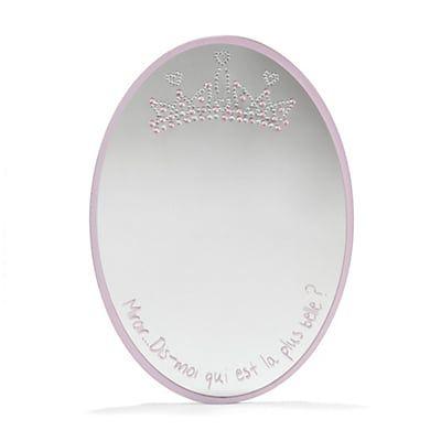 Miroir ovale imprimé et orné de strass