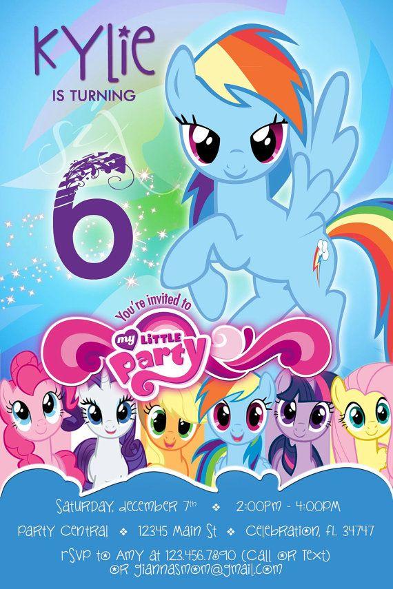 Mi pequeña invitación de pony 4 Rainbow Dash la por PartyDesignsDIY