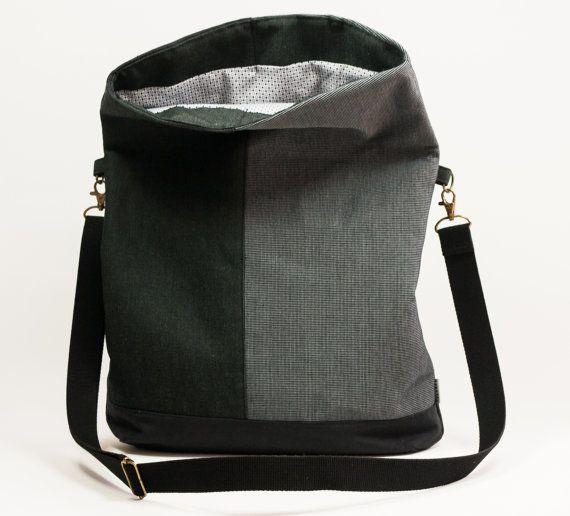 Foldover Crossbody Bag. Grey handbag. Shoulder bag. by TELANDO