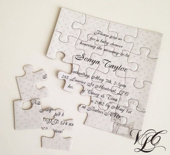 Personalized Baby shower invitation puzzle Baby by VintageChicLace