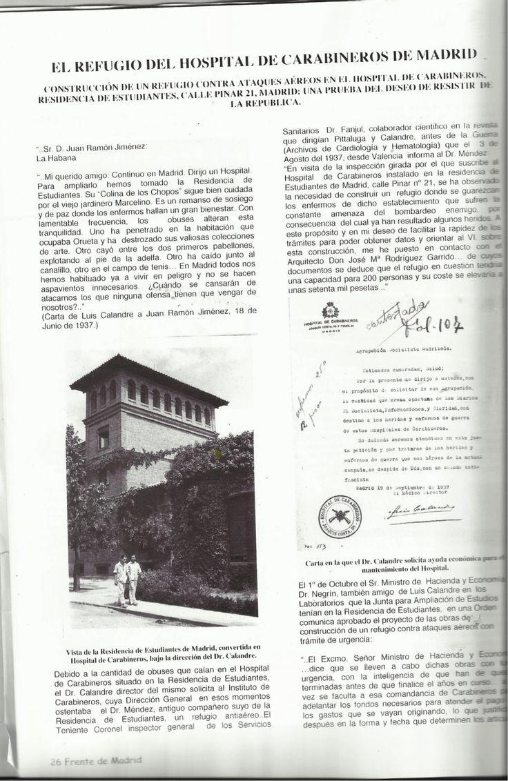 Hospital de Carabineros, legalidad republicana, Luis Calandre Ibáñez, Patrimonio: Un nuevo Refugio antiaéreo, de siempre, Residencia de Estudiantes