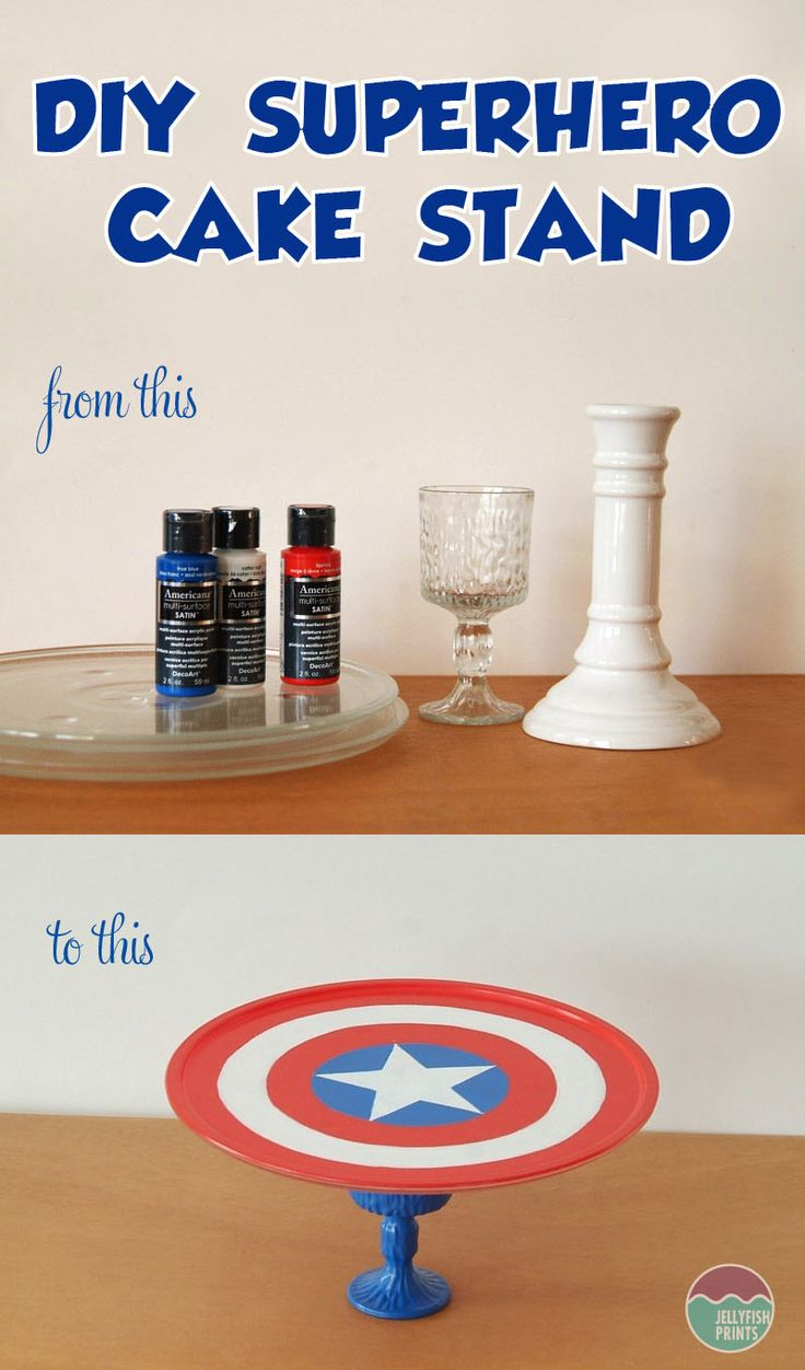 Upcycle an old microwave plate and a glass to make a cool Super hero Cake Stand for a birthday party celebration. Captain America themed plate tutorial.