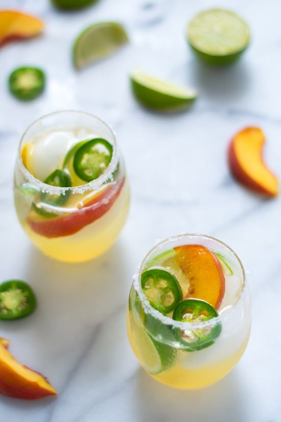 Fizzy Peach Jalapeno Margaritas