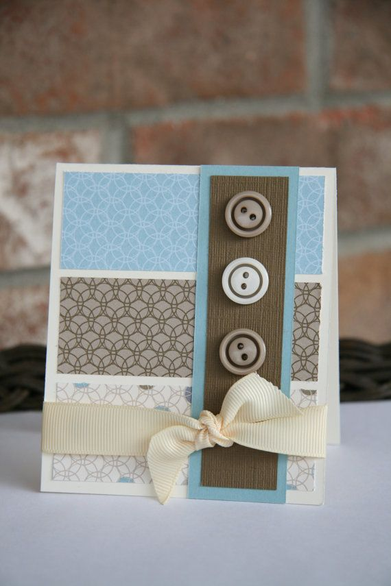 Hand made greeting card featuring blues and browns by emkcreations, $4.00