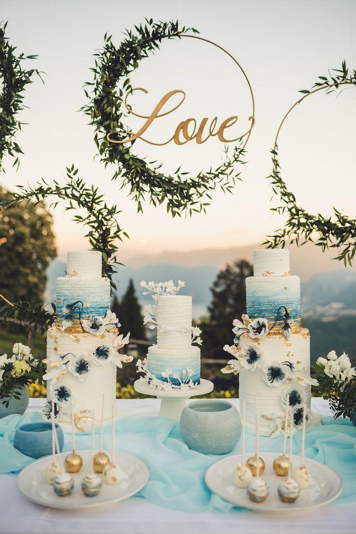 1001 Ideas Wedding Decoration Ideas For Your Big Day Wedding Cake Table Sweet Table Wedding Wedding Cakes Blue
