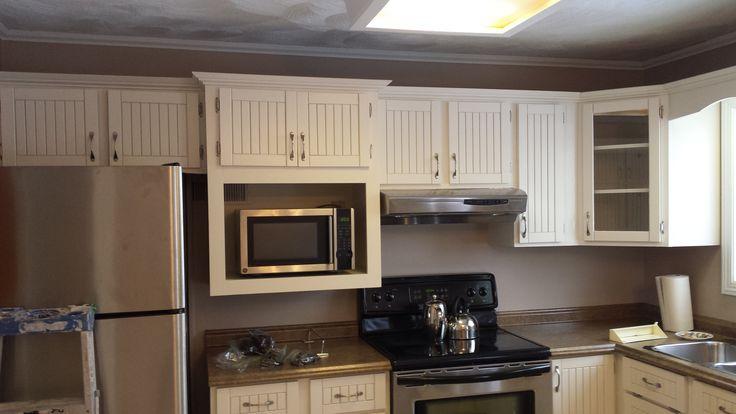 White cabinets sprayed