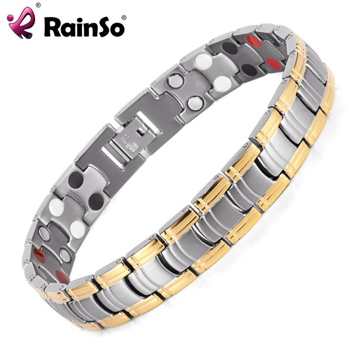 Rainso Men Jewelry Bio Energy Gold Plated Magnetic Health Bracelet Men Bracelets & Bangles Stainless Steel Bracelets For Women