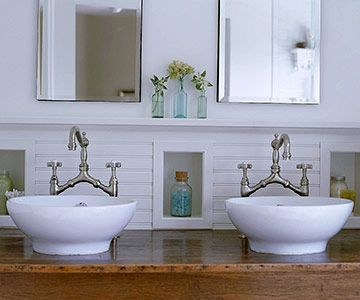 Farmhouse Style With Vessel Sinks Love These Faucets