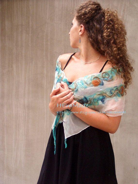 Turquoise felt scarf Nuno felted scarf Aqua felted by HEraMade