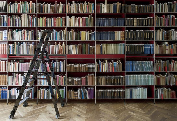 USM Modular Furniture | usm.com | Herringbone Parquet Flooring | Loft Library | Get The Look | Metal Ladder | Trend 2015 | Vintage Industrial Furniture | Warehouse Home Design Magazine