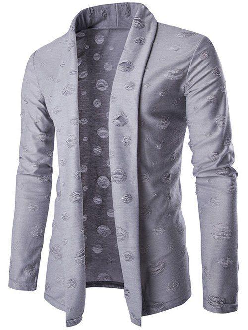Slim-Fit Distressed Shawl Collar Cardigan