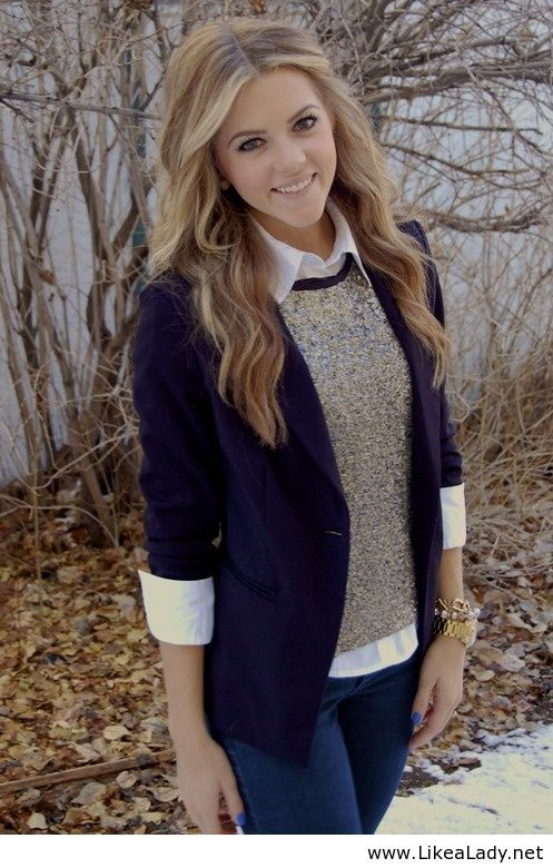 Sweater over collared shirt and blazer. Love this!