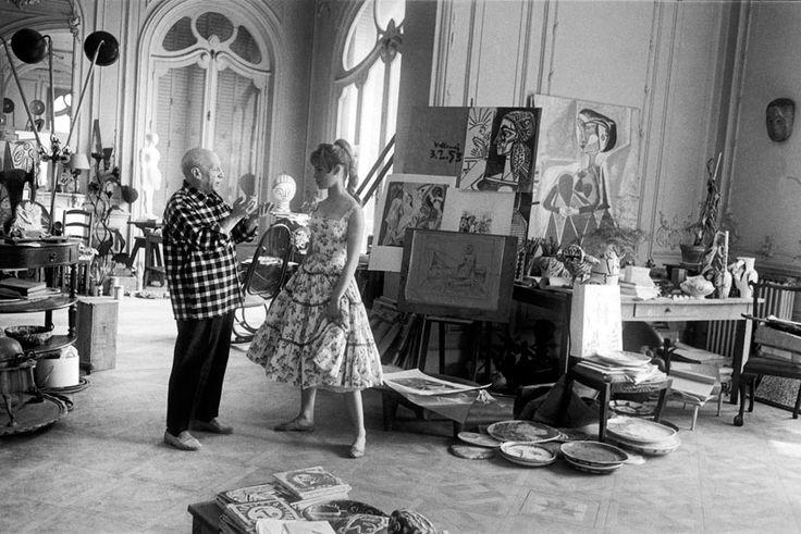 Pablo Picasso and Brigitte Bardot at his Vallauris studio, 1956