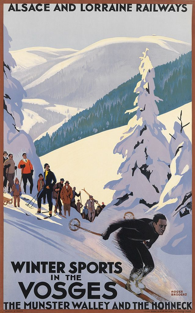 """One of Broders' rarest ski posters for this region in northeast France, of """"one of the highest and most celebrated summits in the Vosges,"""