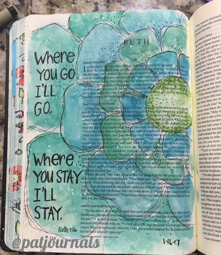 Ruth 1:16 Bible art journaling by @patjournals