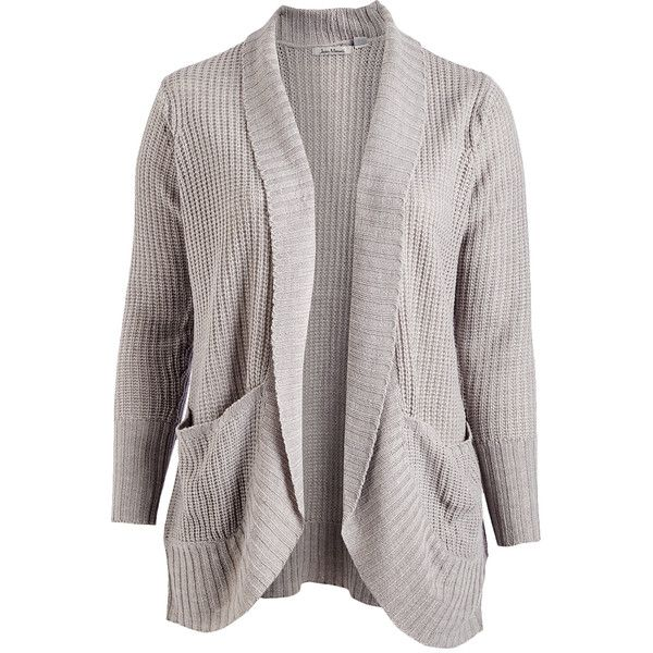 Jason Maxwell Light Gray Heather Turnback-Pocket Open Cardigan ($20) ❤ liked on Polyvore featuring plus size women's fashion, plus size clothing, plus size tops, plus size cardigans, plus size, women's plus size cardigans, long cardigan, women's plus size tops and shawl collar cardigan