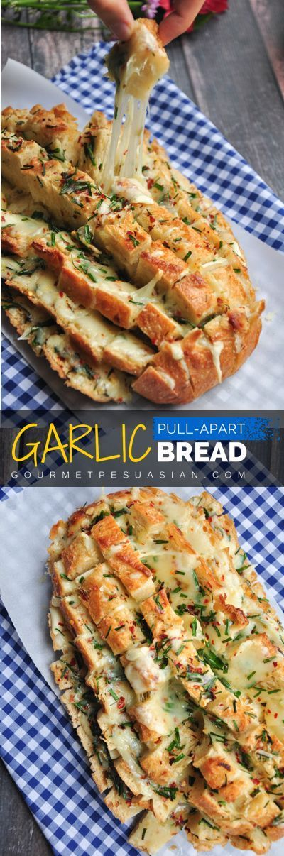 Looks impressive? Its really easy to make. 6 ingredients and 30 minutes are all you need for this cheesy garlic pull-apart bread. Serve it as a side, an appetizer, or a snack. Bring it to a potluck or tailgate party to knock everyones socks off! #garlic                                                                                                                                                     More