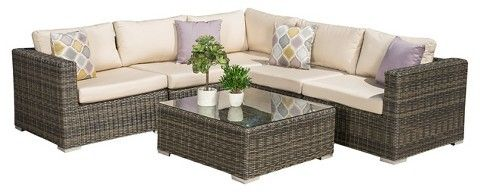 Christopher Knight Home Santa Rosa 6pc Wicker Sectional Seating Set with Sunbrella Cushions - Cubu Gray