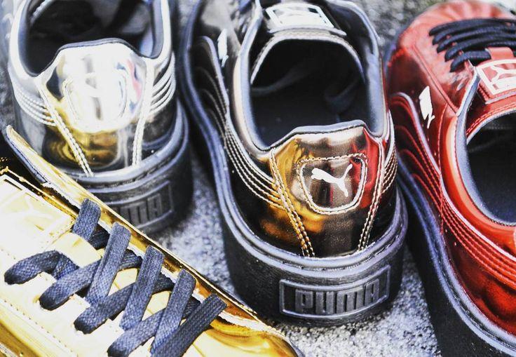 #puma から#pumarihanna の#クリーパー と同じクリーパーソールの#basketplatform #mettalic が登場NYのパンクシーンに着想を得た眩しいくらいに輝くアッパーは全4色で展開 #レディース #レディースファッション #プーマ #スニーカー #スニーカー女子 #メタリック #秋冬