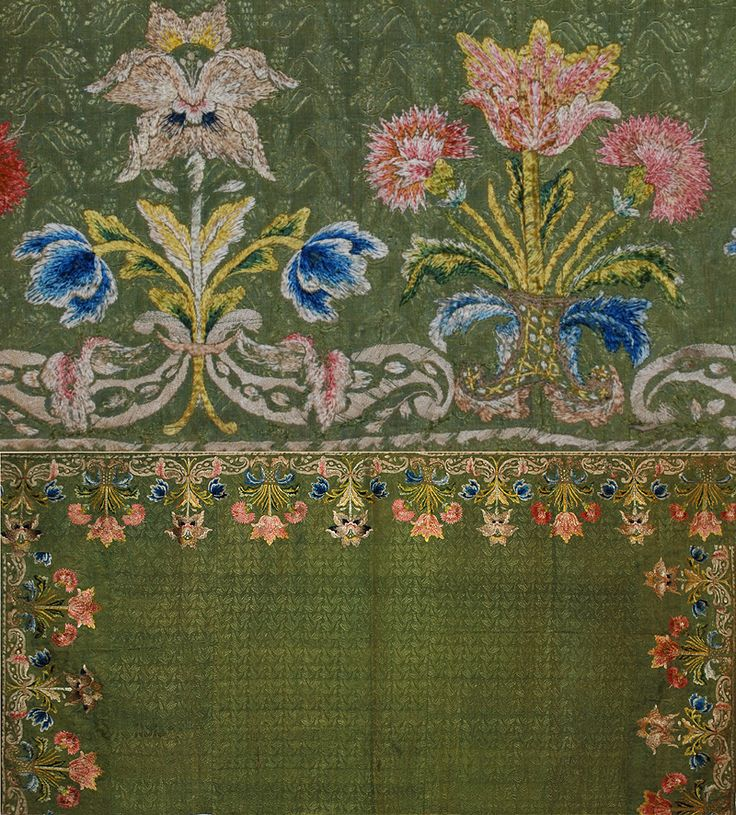 Mid 17th Century Spanish Embroidery on Silk