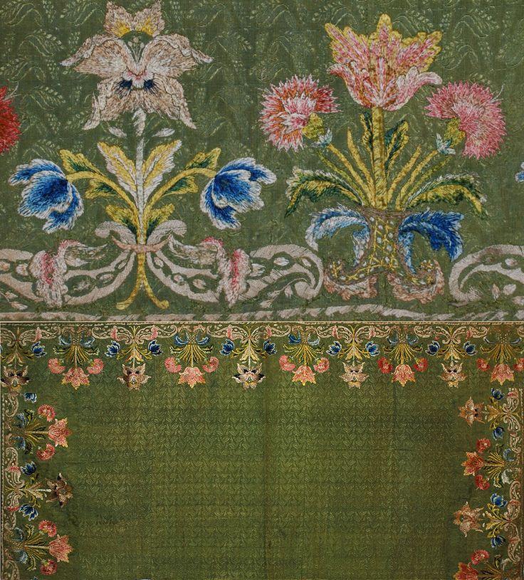 Mid 17th Century Spanish Embroidery on Silk