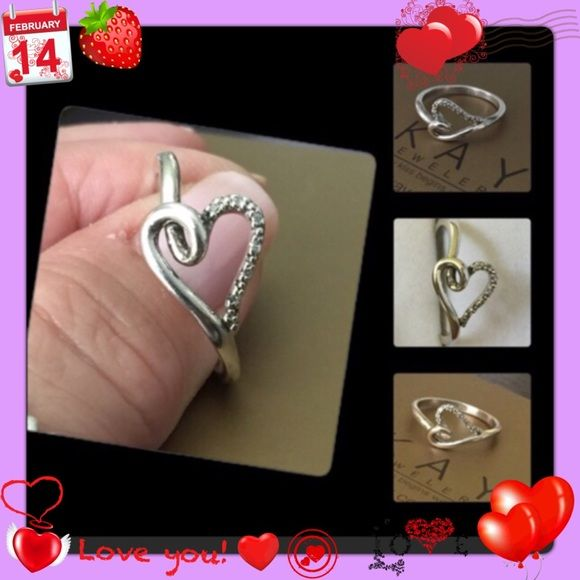 Kay Jewler Diamond infinity Heart Ring 💖Set in Sterling silver with genuine diamonds💖beautiful and unique design💖Good pre loved condition💖Size 7💖 Kay Jewelers Jewelry Rings