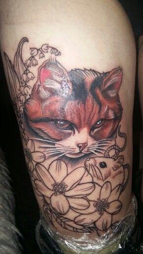 #tattoocat #tattoo #animaltattoo #naturetattoo #flowertattoo