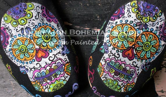 Sugar Skulls Day of the Dead hand painted TOMS on Etsy, $145.00