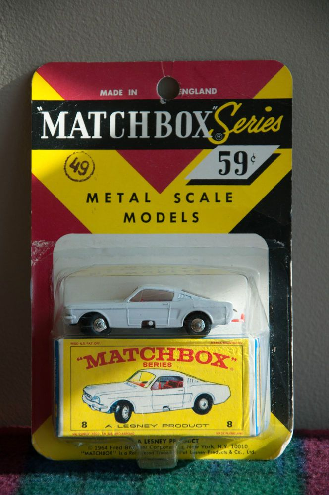 1960-69 Matchbox Lesney White Ford Mustang Fastback #8 NEW IN PACKAGE #Matchbox #Ford