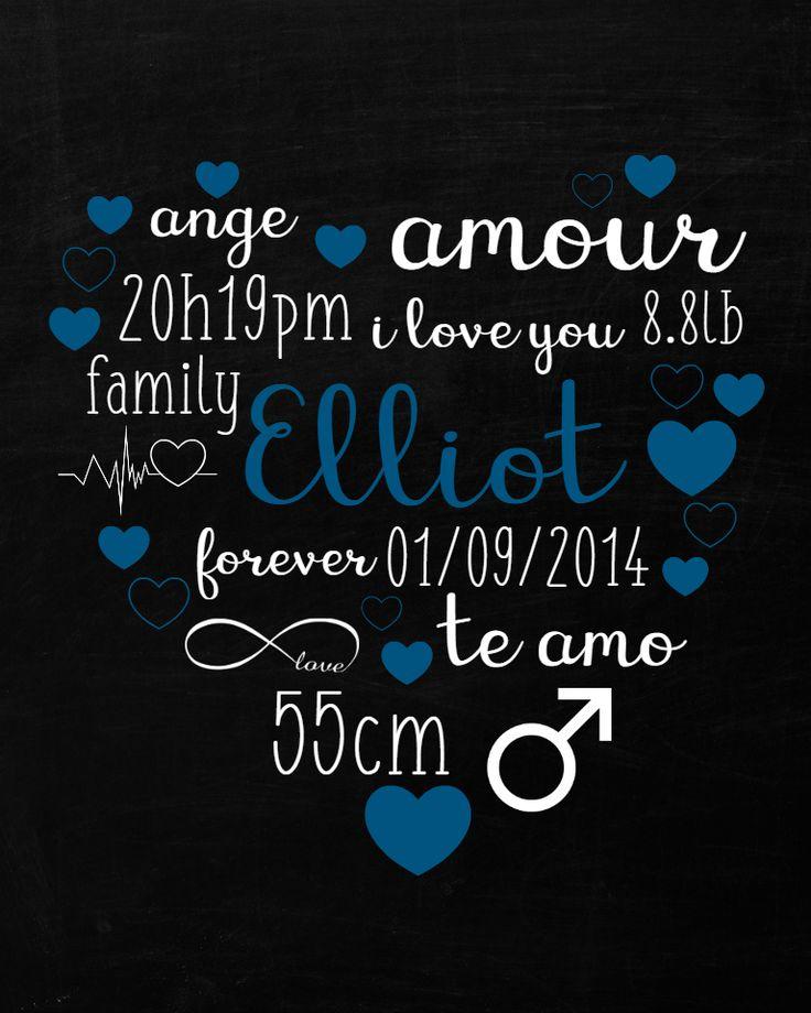 Affiche personnalisée Coeur de Naissance.