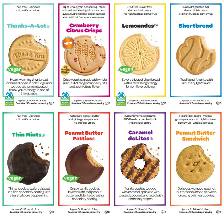 2014 Girl Scout cookies that Shelby is selling this year. Sales start January 3rd, 2014. Let me know if interested!!!!